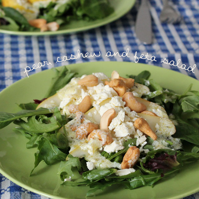 Salad with Pear Feta and Cashews with Sour Cream Tarragon Dressing