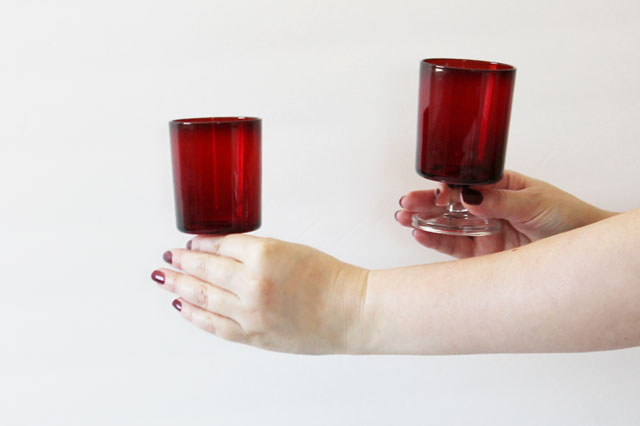 thrifted-arcoroc-ruby-red-goblet-glasses