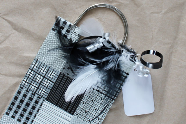 diy feather gift bag decoration