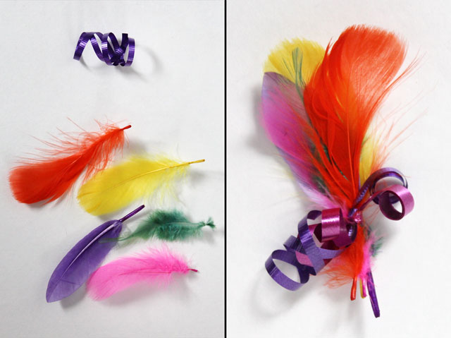 diy feather gift decoration