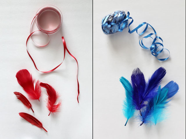 diy feather gift decorations