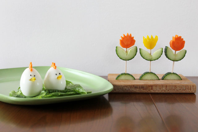 easter-salad-decorations-chick-eggs-vegetable-tulips