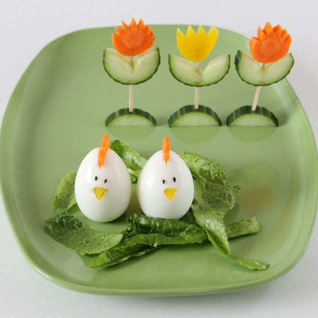 easter salad decorations egg chicks vegetable tulips1