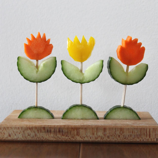 flowers made from vegetables tulips1