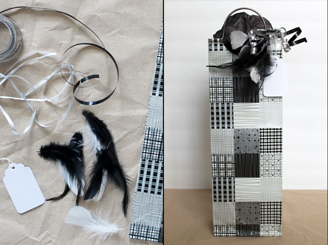 making a gift decoration with feathers