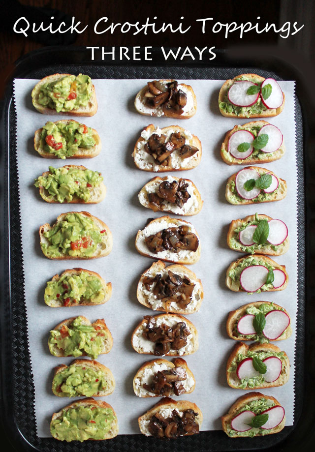Vegetarian Party Food : Three Quick Crostini Toppings