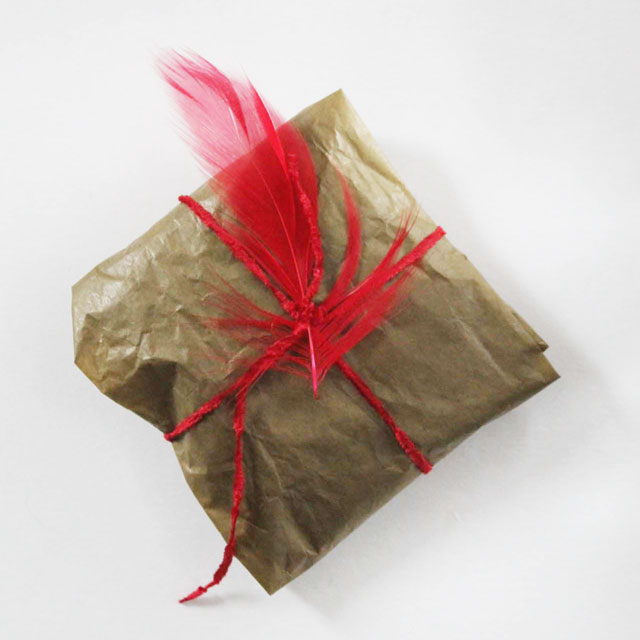 simple gift wrapping with a feather