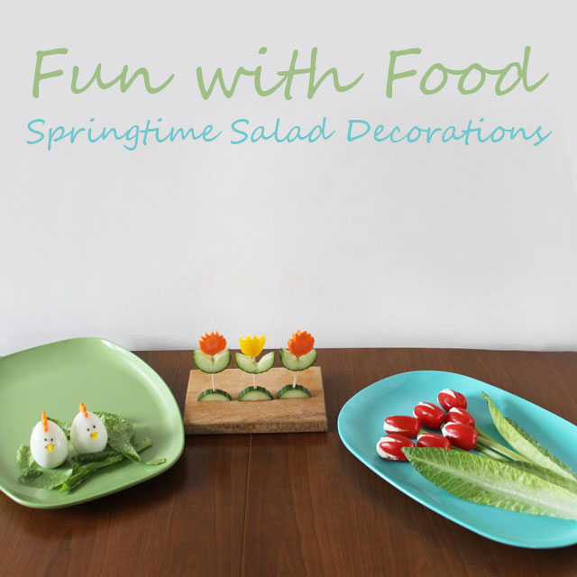 springtime easter buffet salad food decorations edible