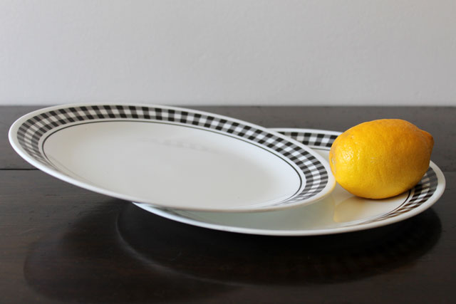 thrifted-corelle-dinner-plates-vintage-black-gingham