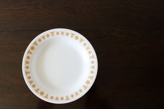 thrifted-corelle-soup-plate-vintage-butterfly-gold