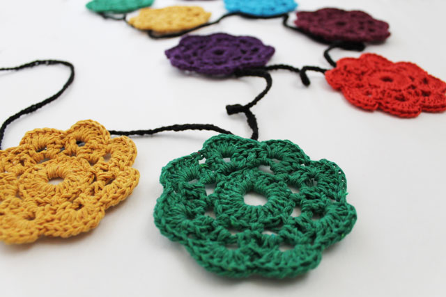 close up maybelle crocheted flower bunting garland
