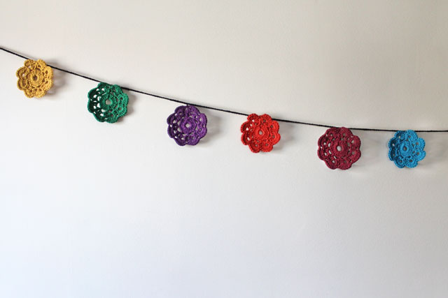 crocheted maybelle flower garland wall decoration