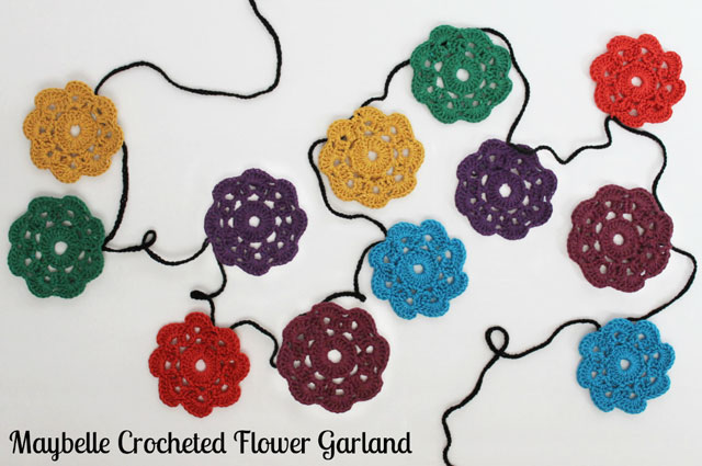 maybelle crocheted flower bunting garland free pattern wall decoration