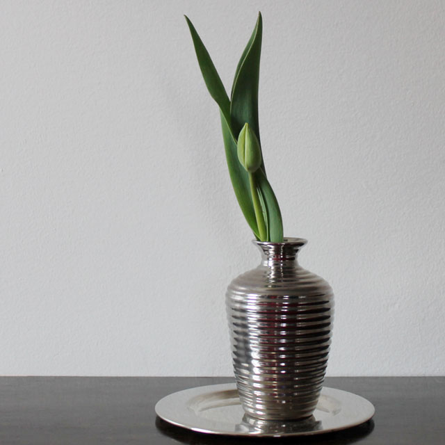 tulip bud in a thrifted vase