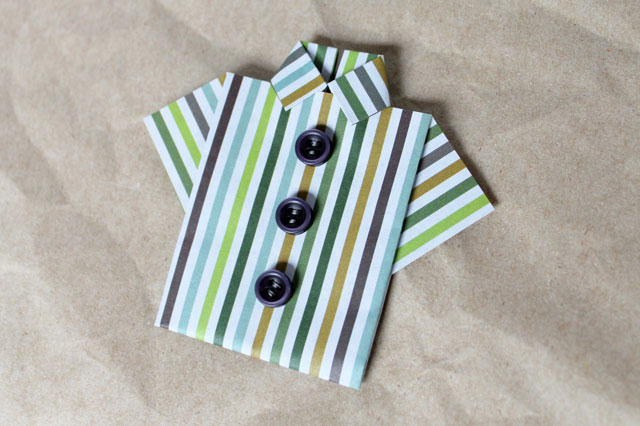 Little origami shirt a handmade greeting card for a man loulou origami mans shirt for greeting card with buttons m4hsunfo