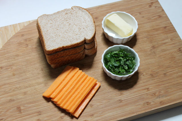 ingredients-to-make-fresh-herb-grilled-cheese-sandwich