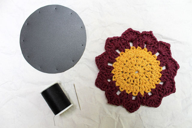 adding-waterproof-backing-to-crocheted-coaster