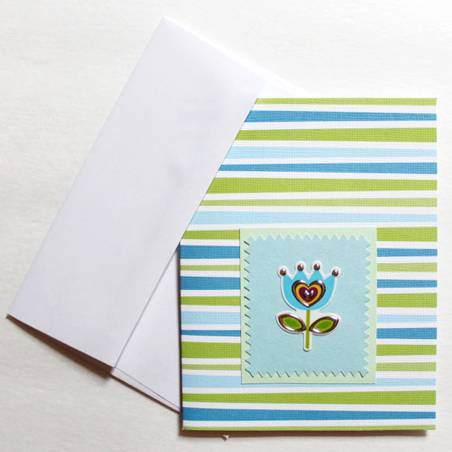 Quick and easy handmade greeting cards loulou downtown easy greeting card to make with a flower sticker m4hsunfo
