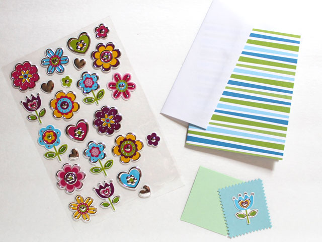 Quick and easy handmade greeting cards loulou downtown supplies to make an easy greeting card with stickers m4hsunfo
