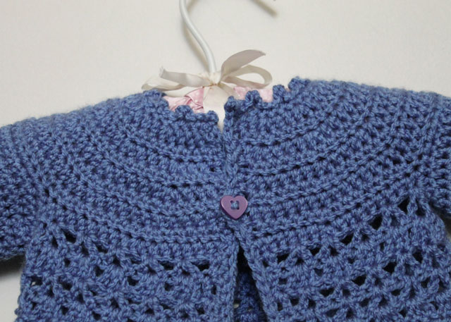 Crocheted Baby Cardigan and Matching Flower Brooch for Mom ...