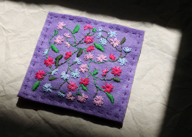 freehand embroidery on felt floral pattern