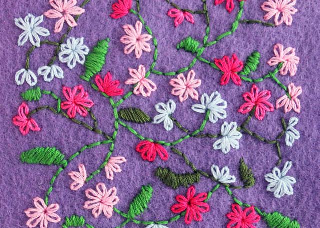 freehand embroidery on felt lazy daisy satin and backstitch