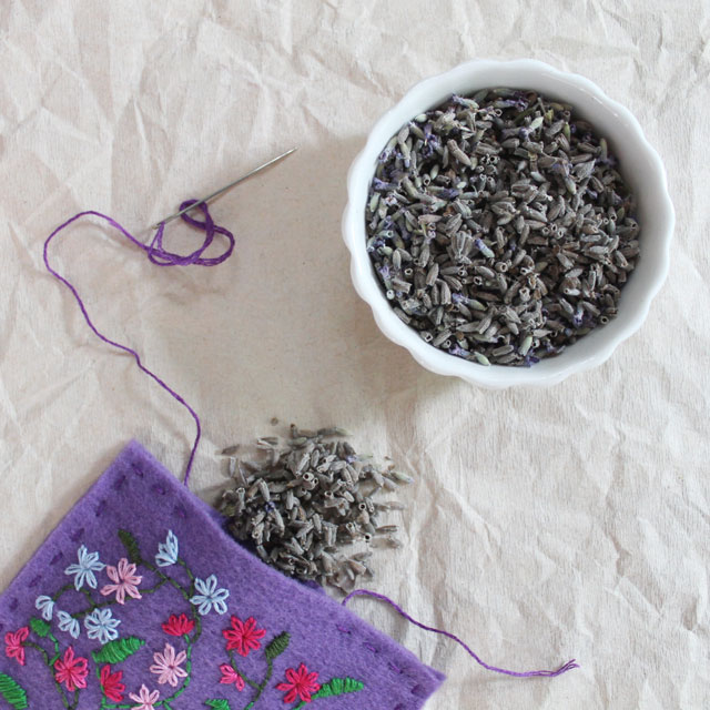 making a lavender sachet with hand embroidered felt