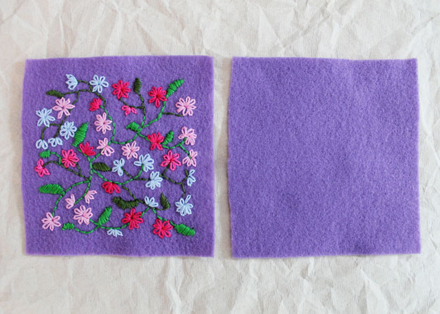 making a sachet from felt with hand embroidery