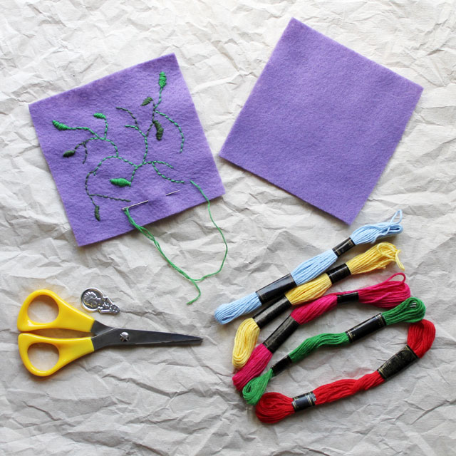 supplies for small emboidery on felt project