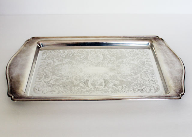 thrifted silver plated serving tray wm a rogers 1984