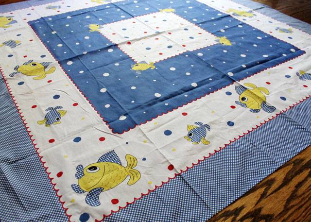 thrifted square tablecloth with fish made in portugal 02
