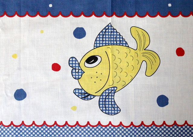 thrifted square tablecloth with fish made in portugal detail