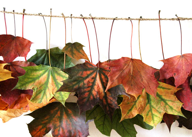 close up of handmade maple leaf garland