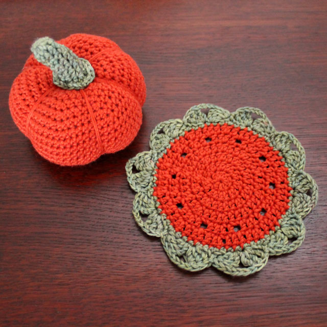 crocheted pumpkin and small doily free patterns