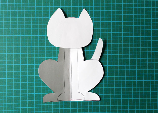 cut out pattern to make felt cat decoration
