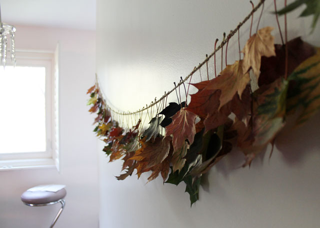 diy fall maple leaf garland using real leaves and twine