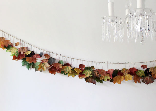 handmade fall maple leaf garland using real leaves and twine