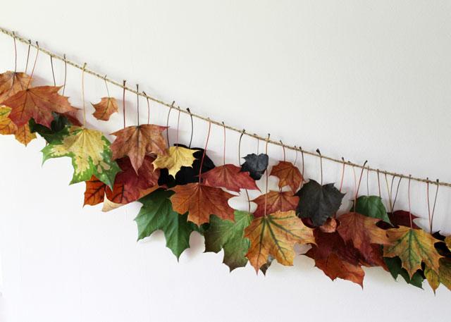 handmade maple leaf and twine fall garland decoration