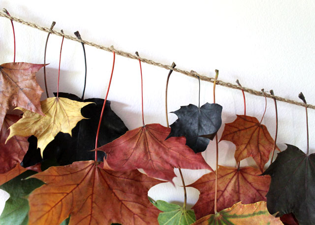 how to attach leaves to twine chain to make fall garland