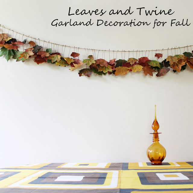 leaves and twine garland decoration for fall coloured maple leaves