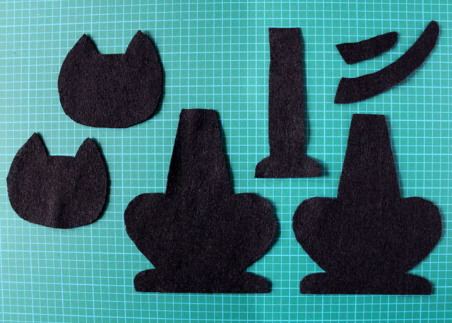 pieces to make felt cat plush decoration