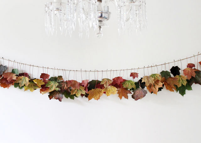 simple DIY autumn garland made from real maple leaves and twine fall thanksgiving decoration