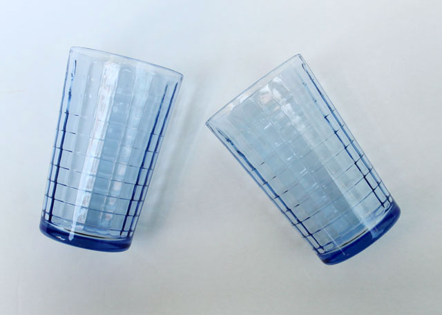 thrifted blue pressed glass small drinking glasses 02