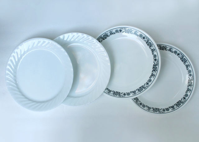 thrifted corelle dinner plates vintage old town blue and current enhancements patterns