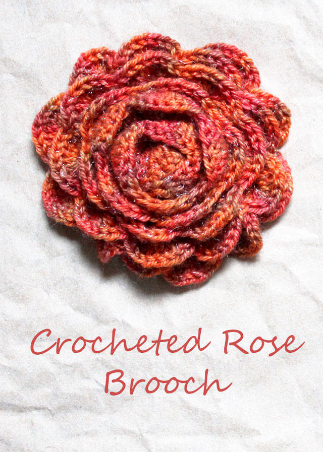 A Crocheted Rose Brooch Loulou Downtown