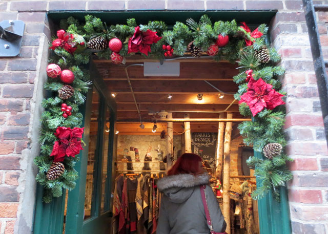 christmas doorway distillery district toronto