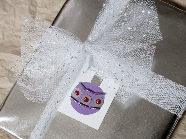 handmade gift tag sequins and beads
