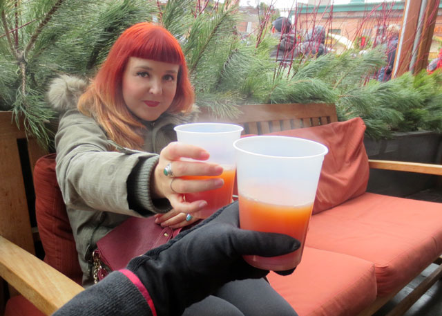 having mulled beer in distillery district toronto