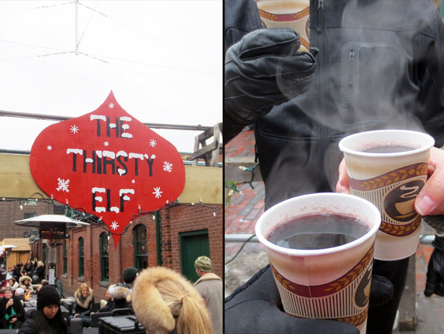 mulled wine at distillery district christmas market