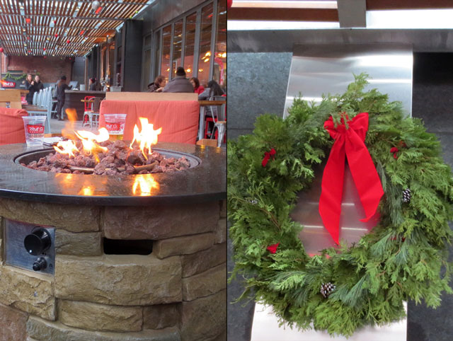 outdoor fire pit at mill street brew pub christmas market distillery district 2014